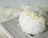Newborn Photo Prop - Newborn Headband: Newborn Tieback, Newborn Flower Crown, Newborn Halo, Organic Photography Props, Ivory, Cream, White