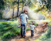 Father and son,' Fishing With My Dad ' flat canvas or paper archival Print, sports art, Laurie Shanholtzer
