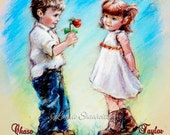 "Custom Valentine ""Love You"" art print boy girl romantic, add names, color and sentiment, Laurie Shanholtzer"