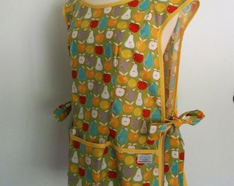 Lime Green Cobbler Apron with Pockets, Smock Apron with Apples, Pears, Over the Head Apron, Full Coverage, Moda Garden Project Mixed Fruit
