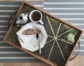 Barn Wood Serving Tray- Brass Breakfast Tray- Cabin Chic Decor- Reclaimed Wood Ottoman Tray- Rustic Tray With Handles- FREE SHIPPING