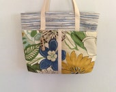 Hand Woven Plarn - Yarn created from recycled, upcycled plastic bags - Open Tote, Beach Bag, Market Bag, Book Bag in Gray, Blue and White