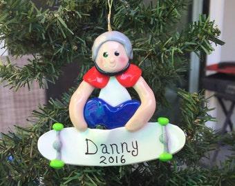 Handcrafted Polymer Clay Skateboard Boy Ornament