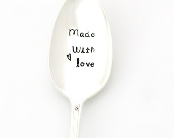 Made With Love. Hand stamped serving spoon. Baking Gifts by Milk & Honey ®