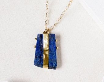 Raw Lapis Pendant, 22k Gold Necklace, Lapis Lazuli Pendant, Lapis Necklace, Modern Minimalist Necklaces, 14k Gold Necklace, Artisan Necklace