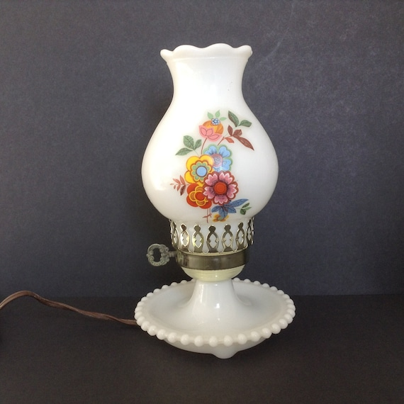 milk glass lamp with painted chimney globe hobnail base
