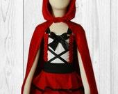 Girls Halloween Costume - Red Riding Hood Costume - Little Red Riding Hood - Halloween Dress - Red Cape - Birthday Dress - Halloween Outfit