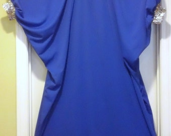 Vintage Choir Gown Robe Costume Gospel Royal Blue Silver Sequins Holiday Christmas Fancy Dress Up