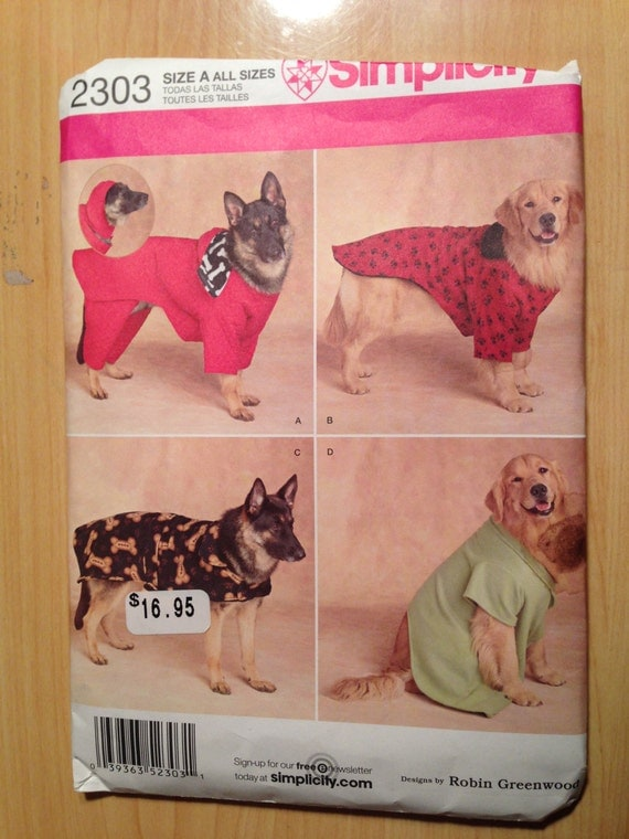 Simplicity 2303 Sewing Pattern Extra Large Dog Coats