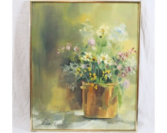 Signed 20x24 Still Life Painting Floral Planter White Yellow Pink Flower