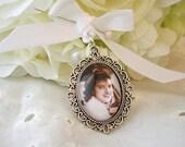 Bridal Bouquet Memory Charm, Angel Bouquet charm, Bridal Photo Charm, Wedding Gift Memory Keepsake Mother gift Memory photo pendant