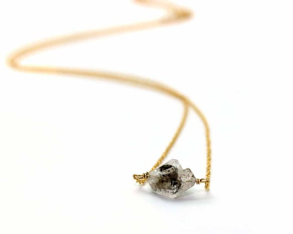 Raw Herkimer Diamond Necklace. Simple Wire Wrapped Rough Gemstone Necklace. Gold Fill or Sterling Silver. NS-1924