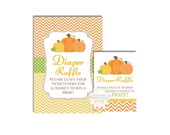 Pumpkin Diaper Raffle Tickets-Fall Diaper Raffle Sign and Tickets-Chevron Baby Shower Games-INSTANT DOWNLOAD
