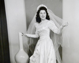 Vintage Wedding Portrait Photo // Photography Collectible Circa 1940s
