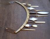 Tribal Bib Necklace Mixed Metal Bib Necklace Weathered Tribal Breast Plate Metal Geometric Necklace Sacred Geometry Warrior Goddess Necklace