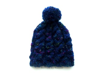 Dark Blue Beanie, Knit Beanie, Pom Pom Beanie, Winter Hat