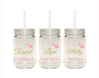 Set of 3 Personalized Mason Jar Tumblers, Personalized Tumblers With Straws, Bridesmaid's Gifts, Wedding Mason Jars, Gifts for Bridesmaids
