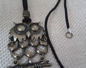 Large Jointed Owl Pendant  with Suede Necklace