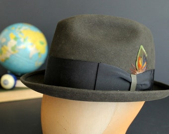 Vintage Mens Fedora Style Hat by Portis Size 6 7/8 Dark Moss Green