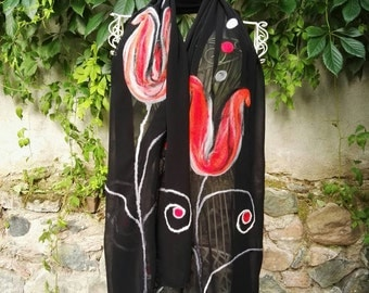 Felted Silk Scarf, Black Tulips Scarf Wrap, One-Of-A-Kind  Evening Shawl, Unique Gift For Her