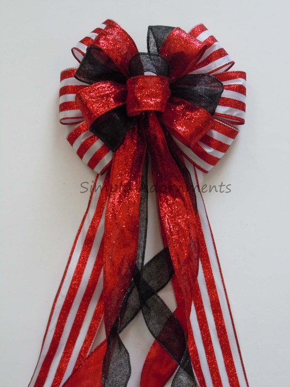 Black Red Wired Ribbon Bow Black and Red Birthday Party decoration Red Black Bow Black Red Topper Bow Red Black Christmas Wreath Swag Bow