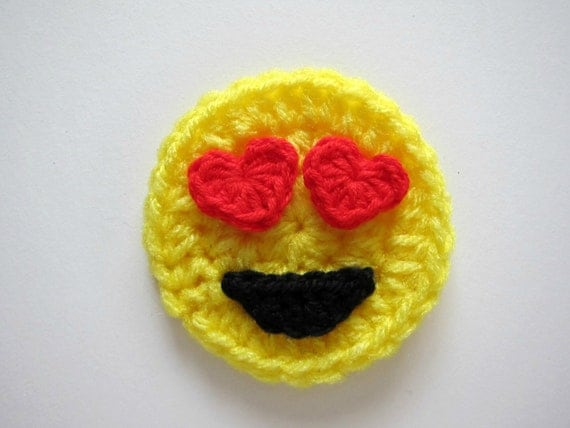Crocheting Emoji : 1pc 3 Crochet LOVE EMOJI Applique by PinkMeStudio on Etsy