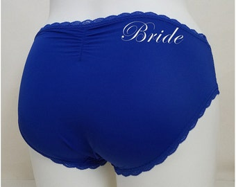 BLUE Hipster w/ Ruched Back - Plus Size - Customized Bride Underwear - Royal Cobalt Blue - Size 1X