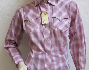 1950's H Bar C Lavender Plaid Ranchwear Blouse With Pearl Snap Buttons - Dead Stock - Size 32