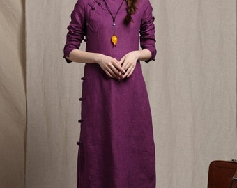 NEW linen tunic dress/ linen dress in purple, spring dress, prom dress, party dress, long sleeve dress, formal dress, flower girt dress