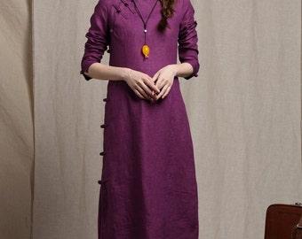 NEW linen tunic dress/ linen dress in purple, spring dress, prom dress, party dress, long sleeve dress, formal dress, flower girt dress