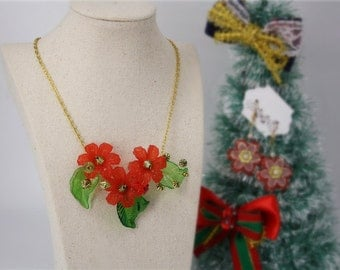 Merry X'mas lucite flower statement necklace red Christmas flower charm rhinestone cute festive green gold jewellery accessory silver chain
