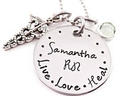 Personalized RN Nurse Necklace - Nurse Gift - Nursing Graduation - Hand Stamped Jewelry - RN Necklace - Live Love Heal - Name Necklace - LPN