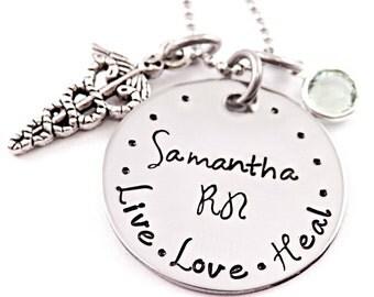 Personalized RN Nurse Necklace - Nurse Gift - Nursing Graduation - Engraved Jewelry - RN Necklace - Live Love Heal - Name Necklace - LPN