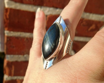 Modern Blue Tiger Eye Ring, Saddle Ring, Armor Ring, Solitaire Ring, Sterling Silver Ring, Natural Stone Ring, Medieval Jewelry, Size 10