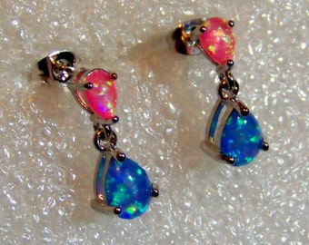 Teardrop Pink and Blue Color Fire Opal Sterling Silver Filled Stud Dangle Earrings With Free Gift Free Shipping And 10% Off At Checkout
