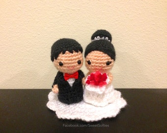 Amigurumi Crochet Wedding Couple Doll Pattern - Chibi Bride Groom Husband Wife Marriage Love Gift Cake Topper Home Party Ceremony Decor
