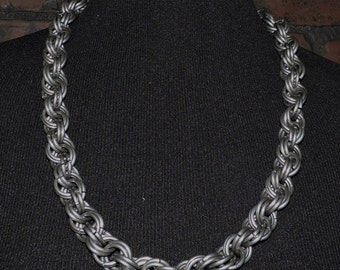 "30"" Mens Chainmail Necklace  8 in 2 Spiral weave Large heavy rings"