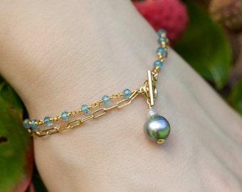 TAHITIAN PEARL BRACELET - blue topaz bracelet - gold bracelet - pearl bracelet - south sea pearl - silver pearl bracelet - bridal jewelry