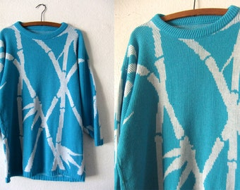 Bamboo Print Oversize Sweater - 80s Turquoise Intarsia Slouchy Fit Sweater Dress - Womens XL