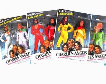 1977 Charlie's Angels Dolls Farrah Fawcett, Kate Jackson, Jaclyn Smith, & Cheryl Ladd TV Show Celebrity Actress Hasbro Doll Set Collectibles