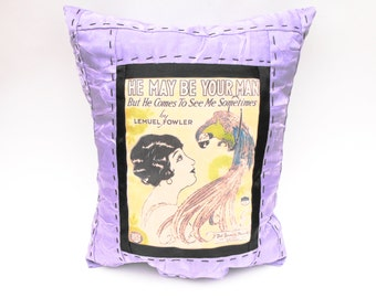 "Ziegfeld Follies Flapper Pillow Green & Purple Parrot Feathers Bed Decor - ""He May Be Your Man But He Comes To See Me Sometimes"" Sheet Music"