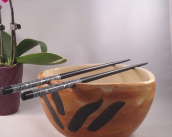 Brown Rice Bowls, Noodle Bowls,Chopstick Bowls, Brown bowls, Ceramic Stoneware, Wedding Gift, Housewarming Gift
