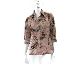 Mod 70s Blouse Print Polyester Button Down Lady Riding a Peacock by Jones of NY