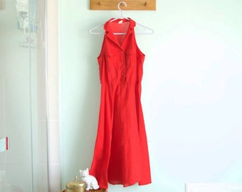 Vintage grease red dress - medium - see through