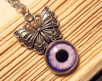 Silver and Purple Butterfly Eye Necklace