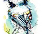 "Splashy Black Capped Chickadee- 5""x7"" Print of Original Ink Watercolor Painting"