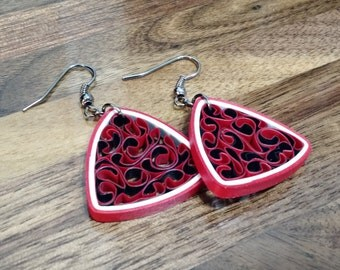 Quilled Paper Triangle Honeycomb Earring - Red & Black