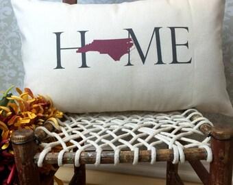 North Carolina Pillow, Long Pillow, Home Pillow, State Pillow, Home Decor, House Warming Gift, House Warming Pillow, Custom Pillow, Lumbar