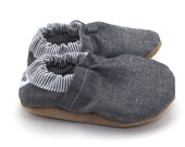 gray baby shoes, chambray booties, toddler slippers, baby booties, shoes for girl shoes for boy elastic booties baby moccasins chambray baby