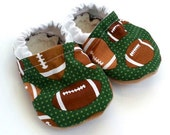 LAST PAIR 0-6 mos // football baby shoes, baby booties, football clothing, green booties, moccasins for baby, baby shower gift sports